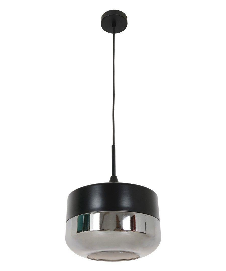 Beacon Lighting   Lunar 1 Light Bowl Pendant In Black With Smoke Glass