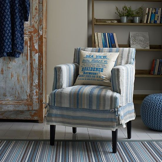 armchair living room. Blue striped living room with armchair  Armchair