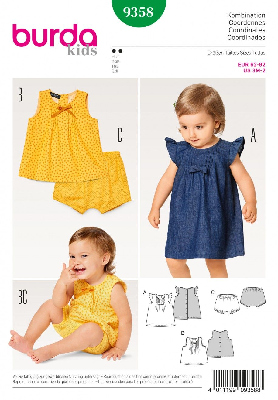 Jacket /& Hat Ages: 3-18 Months Dress Burda Toddlers Sewing Pattern 9712 Pants Dungarees