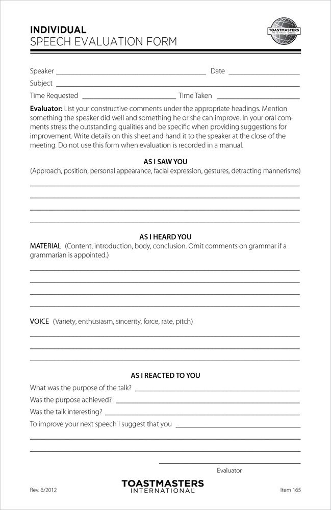 Individual Speech Evaluation Form (set of 25) Cool Stuff Pinterest - project evaluation template
