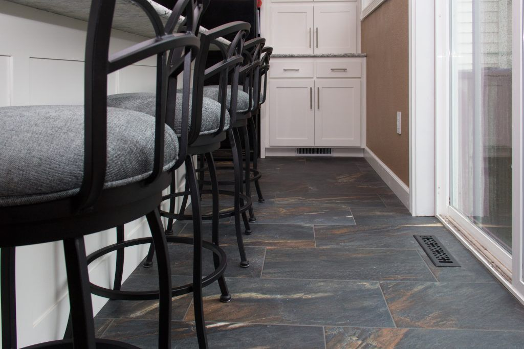Rainbow and Dark Gray Tiled Kitchen Floor | Kitchens | Pinterest ...