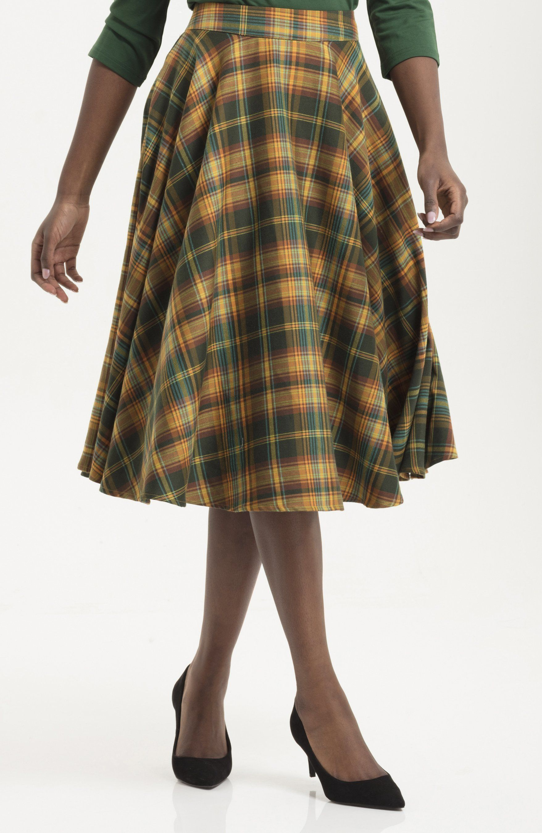 80848333be1 Bridget Tartan Skirt in Olive   Mustard Plaid Skirts