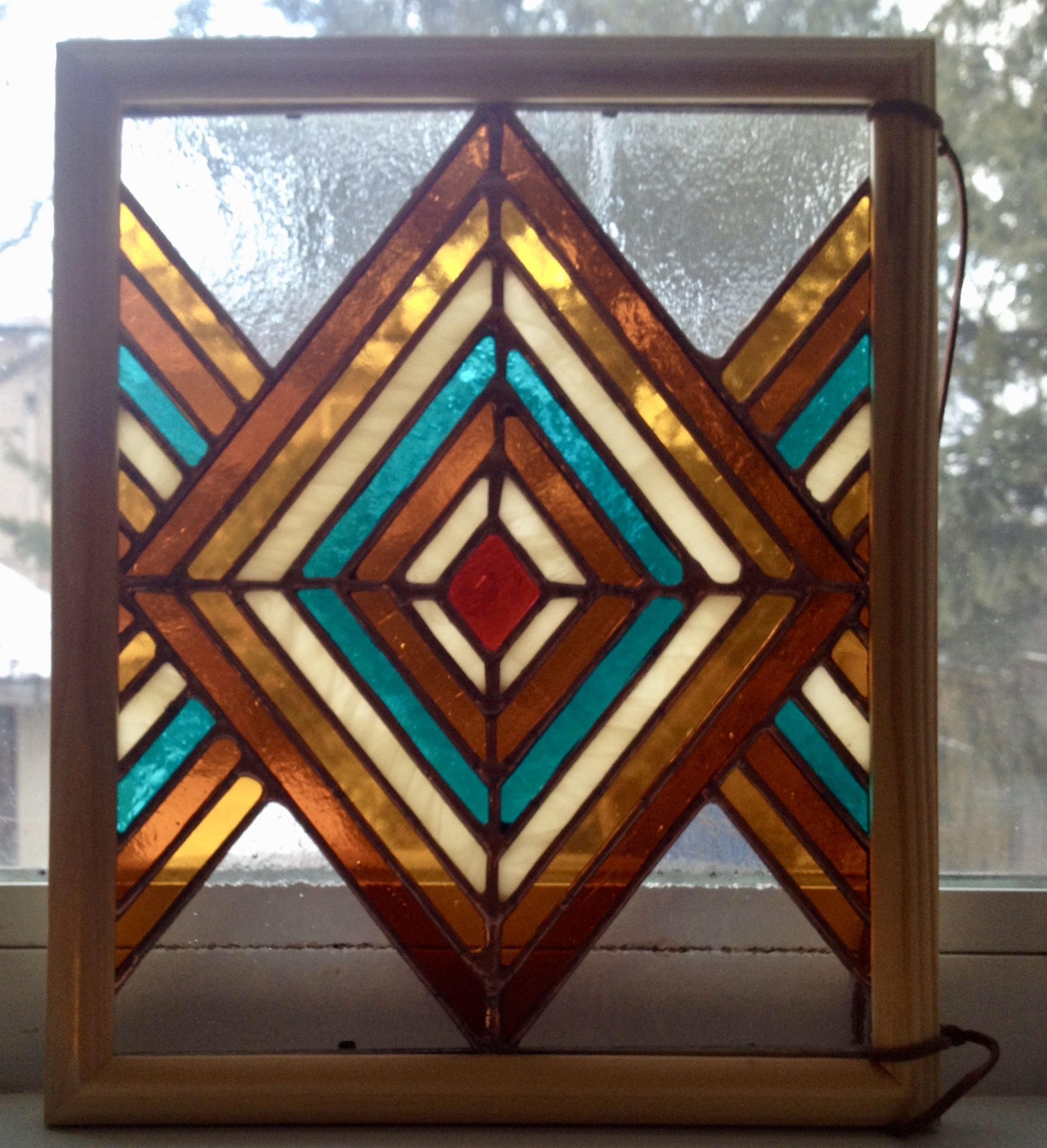 Funky Retro And Boho Chic Geometric Striped Stained Glass Window