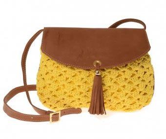 ff4227035 bolsa croche com couro - Pesquisa Google Bolsas De Couro, Bolsas De Crochê,  Alça