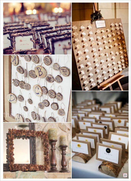 Plan de table mariage automne rondin tronc cadre pomme de - Plan de table en bois ...