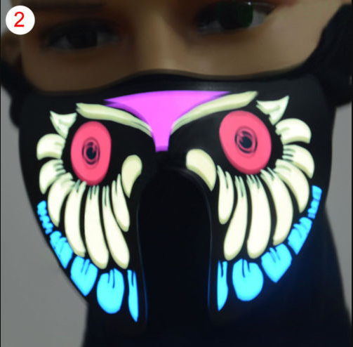 Halloween Cosplay LED Luminous Flashing Face Mask Light Mask Up Funny Rave Party