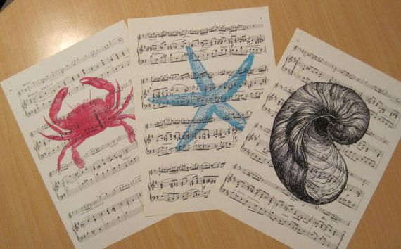 shabby chic sea creatures on vintage sheet music set of 3 on Etsy, $6.00