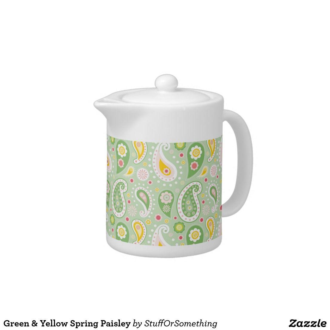 Green & Yellow Spring Paisley Small Tea Pots (x8)