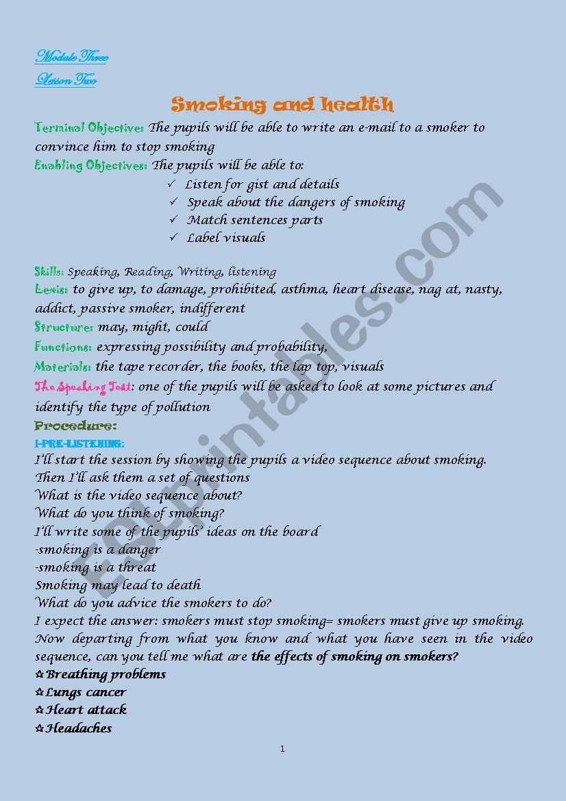 Lesson Plan SMOKING AND HEALTH 9TH FORM | 9th | Lesson plans