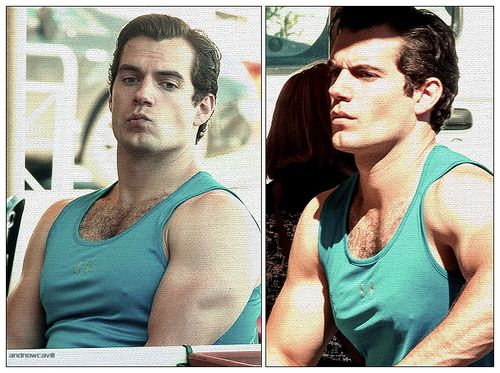 Henry shows off his super muscular arms while filming a scene on a boat in the water for The Man from U.N.C.L.E. on Thursday (September 26) in Naples, Italy.