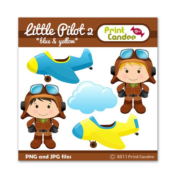 Little Pilot 2 (Blue & Yellow) - Digital Clip Art - Personal and Commercial Use - graphics, scrapbooking, card making