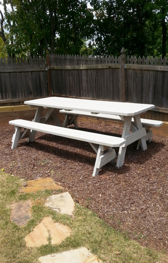 8ft Picnic Table With Detached Bench Seating And A Distressed
