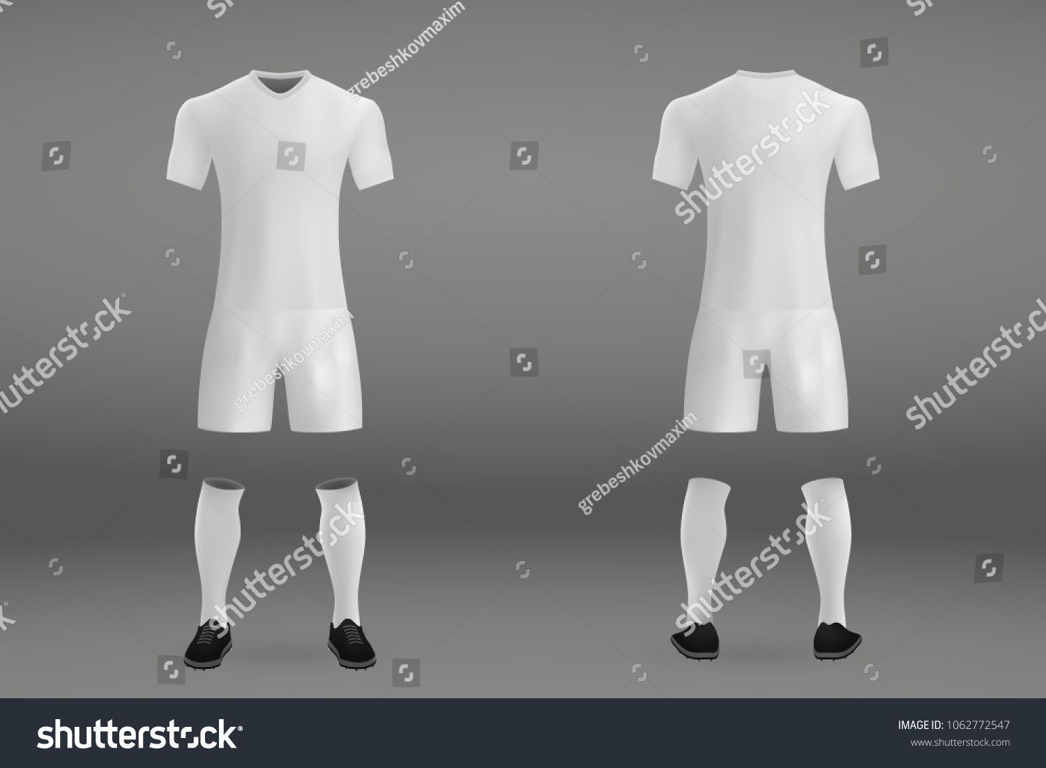a5551333df5 3D realistic template white soccer jersey t-shirt with pants and socks on  shop backdrop. Mockup of football team uniform jersey#shirt#pants#soccer