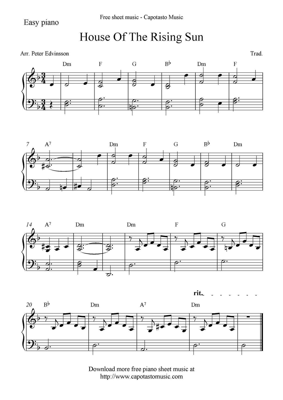 House Of The Rising Sun Cream Piano Sheet Music Free Piano Sheet Music Sheet Music