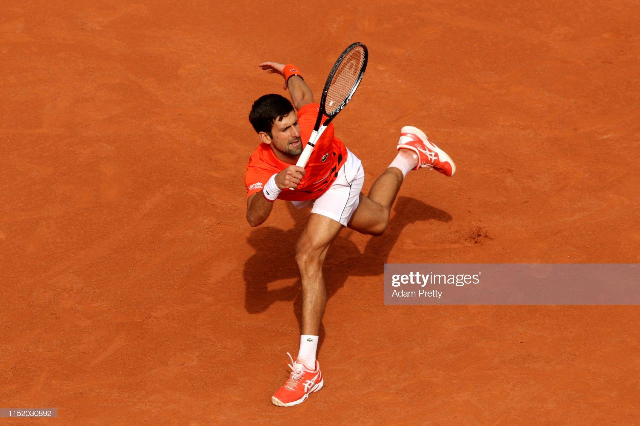 Novak Djokovic Of Serbia Plays A Forehand During His Mens Singles Novak Djokovic Men Serbia