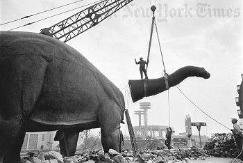 World's Dinosaur Fair being dismantled, 1965