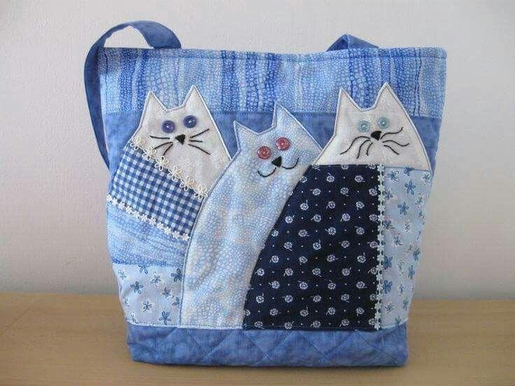 Cat applique bag no pattern sewing ideas denim bag fabric