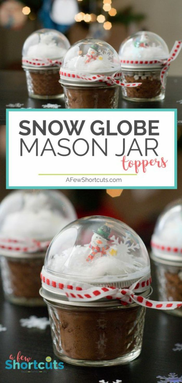 Diy Christmas Gifts Small Mason Jars Filled With Cocoa Powder With Snow Globe Toppers Containing F Snow Globe Mason Jar Homemade Christmas Gifts Snow Globes