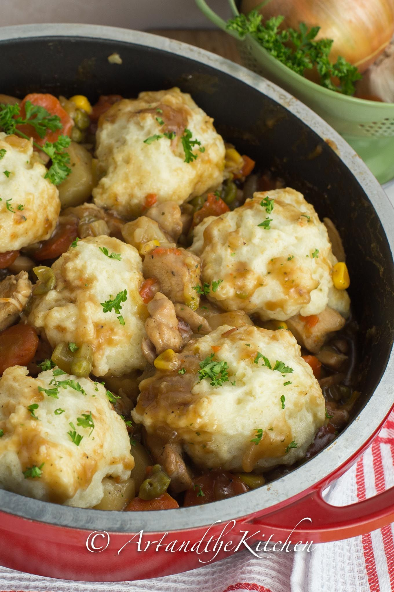 A true classic comfort food recipe is Chicken and Dumplings. This one pot meal is so hearty with chunks of chicken and vegetables topped with light and fluffy dumplings