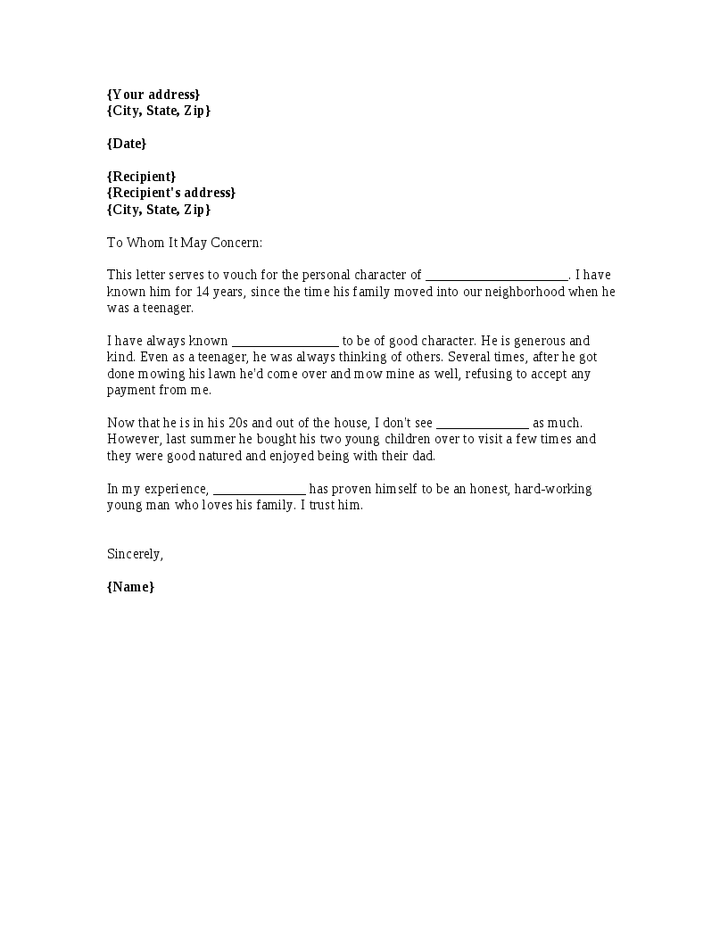 A Template For A Personal Reference Letter  Employment Tips