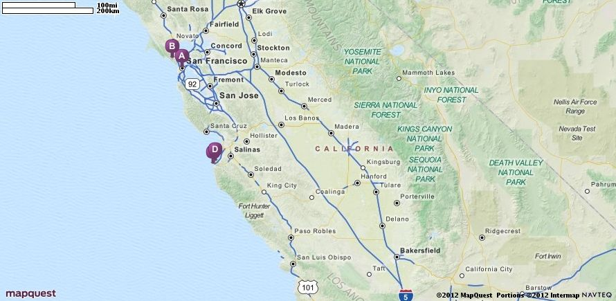 Driving Directions From San Francisco California To San Diego - Mapquest california