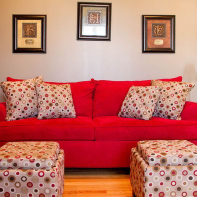 Love The Wall Color W Red Couch Pillows Red Couch Couch