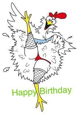 Открытка с курочкой с днем рождения