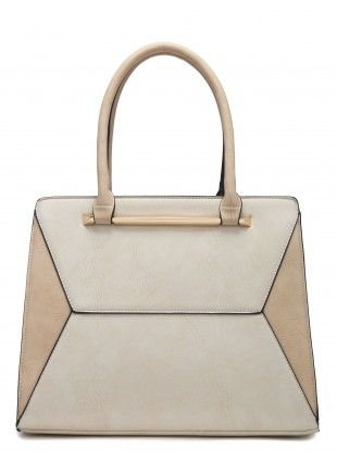f91104213fc7 WORK IT CREAM TWO TONE STRUCTURED TOTE BAG