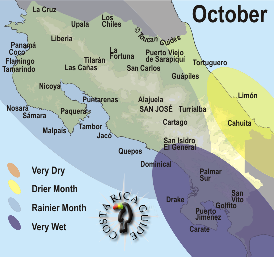 costa rica rainy season map October Weather And Rainfall Map For Costa Rica Moving To Costa costa rica rainy season map