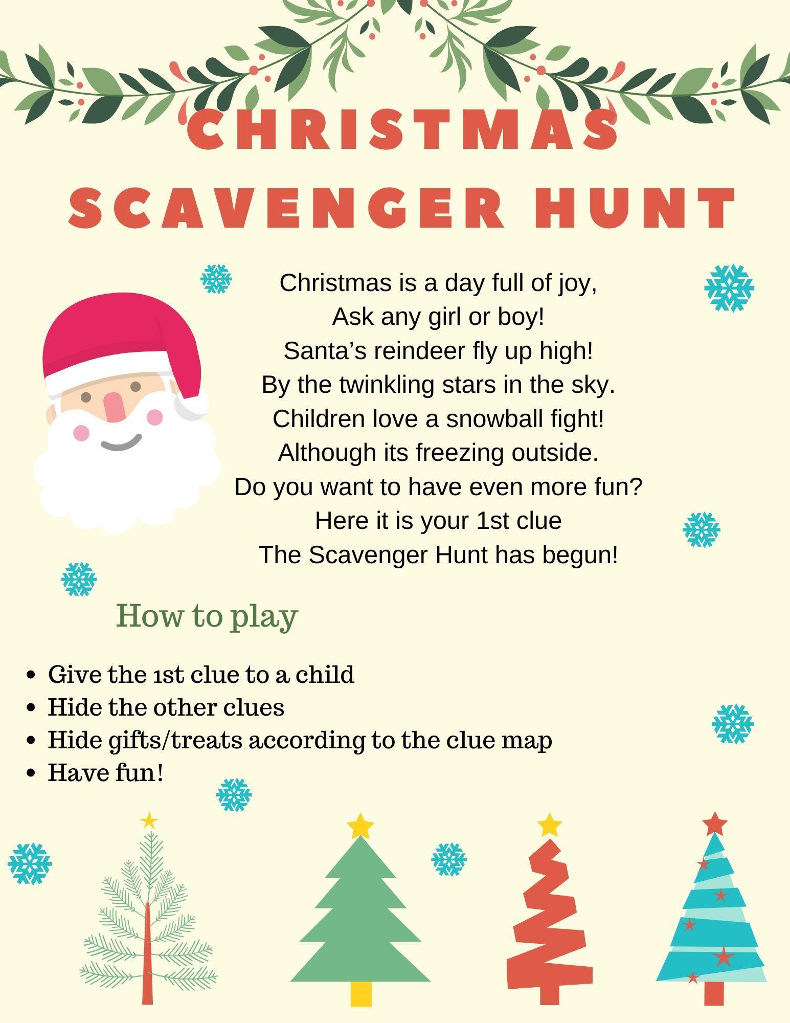Merry Christmas Scavenger Hunt Riddles/Clues Christmas