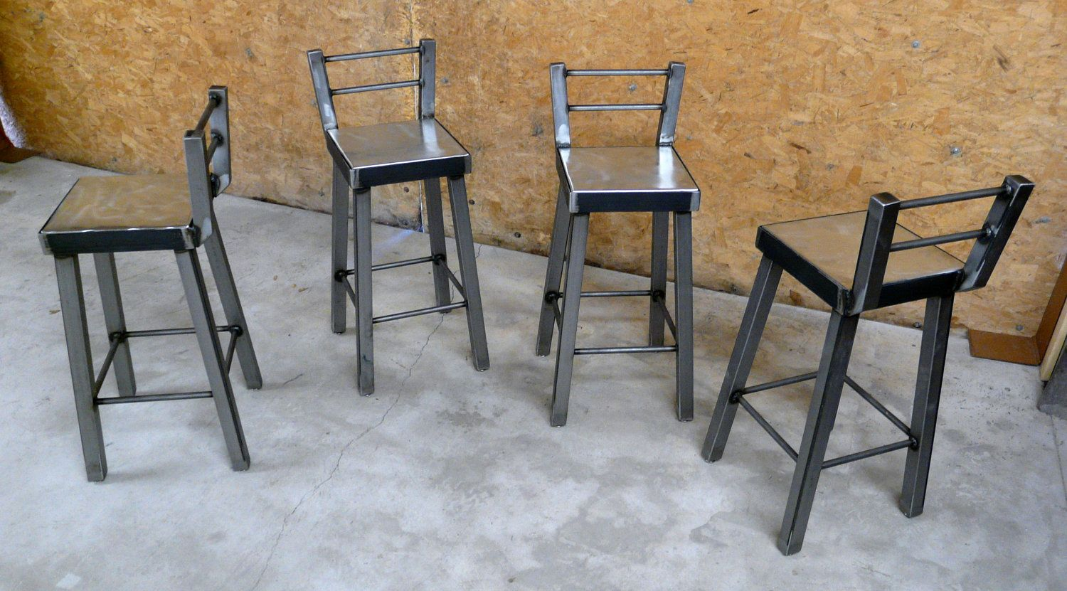Industrial Bar Stools With Backs Galvanized Steel And Raw Metal Bar Stool With Low Back By