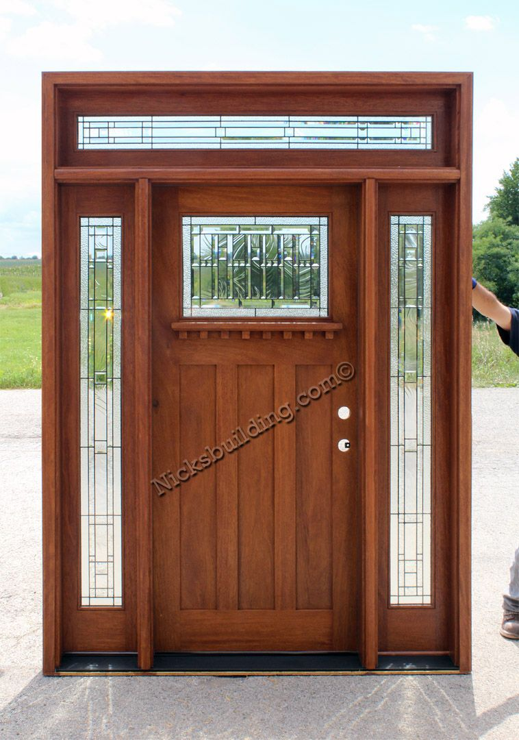 Craftsman door rectangular transom mission style exterior for Transom windows exterior