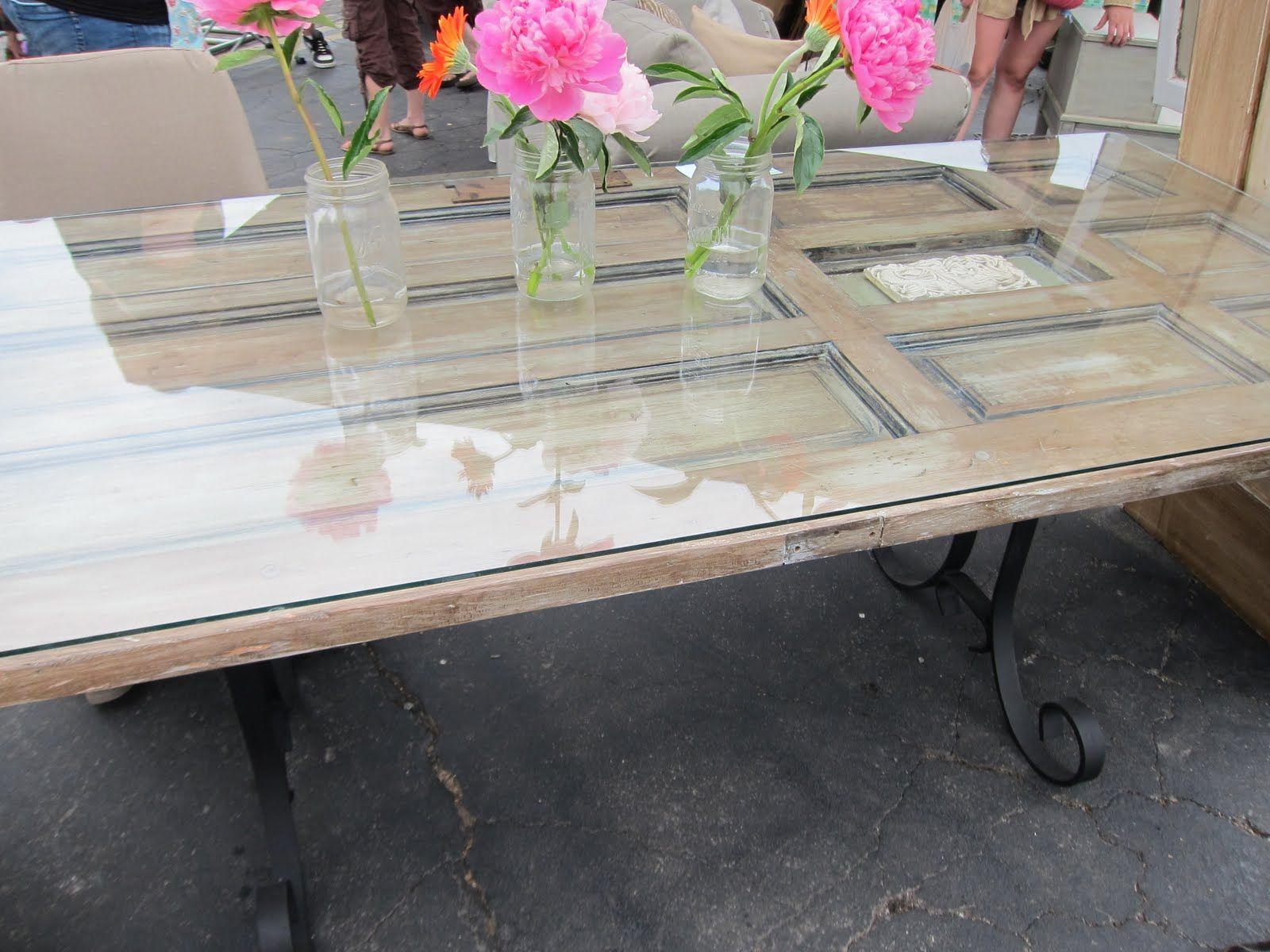Dining Room Table Made From Old Door This Was Cool Too Rusted Wrought Iron Fencing With No