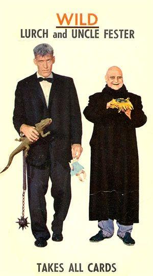 Largo Y El Tío Lucas En El Juego De Cartas De Los Locos Addams The Addams Family Addams Family Family Card Games Family Cards