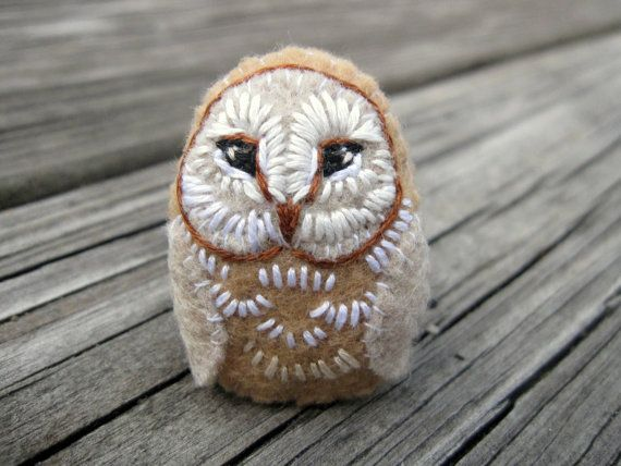 Owl Brooch - Barn Owl // Hand Embroidered Felt Owl Pin // Embroidered Brooch // Cute Jewelry on Etsy, $18.00