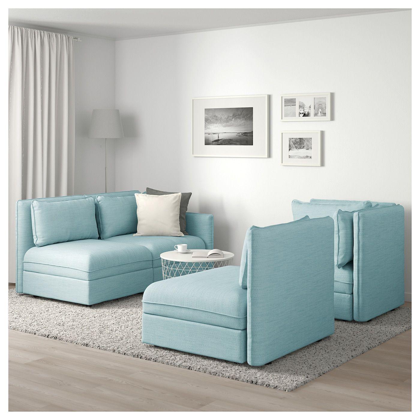 Vallentuna Canape D Angle Modulaire 3 Places Avec Rangement Hillared Bleu Clair Ikea Modular Corner Sofa Vallentuna Corner Sofa