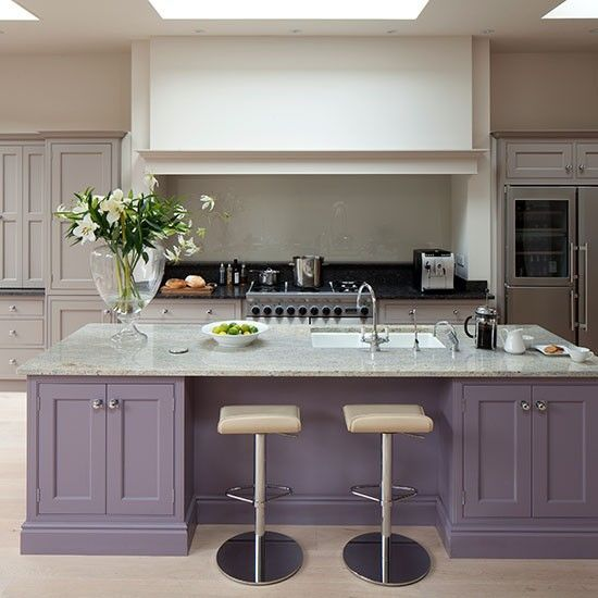 Grey Kitchen Decor Ideas: Glamorous Grey And Purple Kitchen With Island