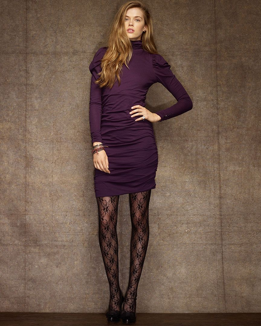 Rugby Ralph Lauren \\\u0027Maryiah\\\u0027 Purple Ruched Turtleneck Dress $39.90 -  incredible sale