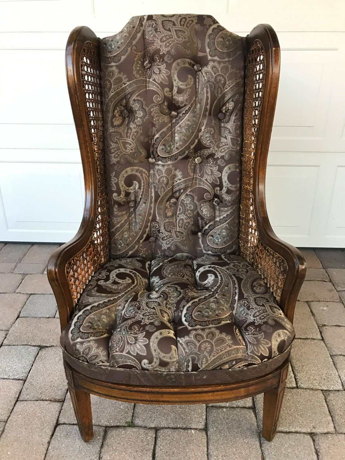 Vintage Tall Wingback Cane Chair/ Lewittes Style Chair by