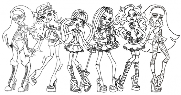 monster high girls coloring page | coloring printables | Dövme