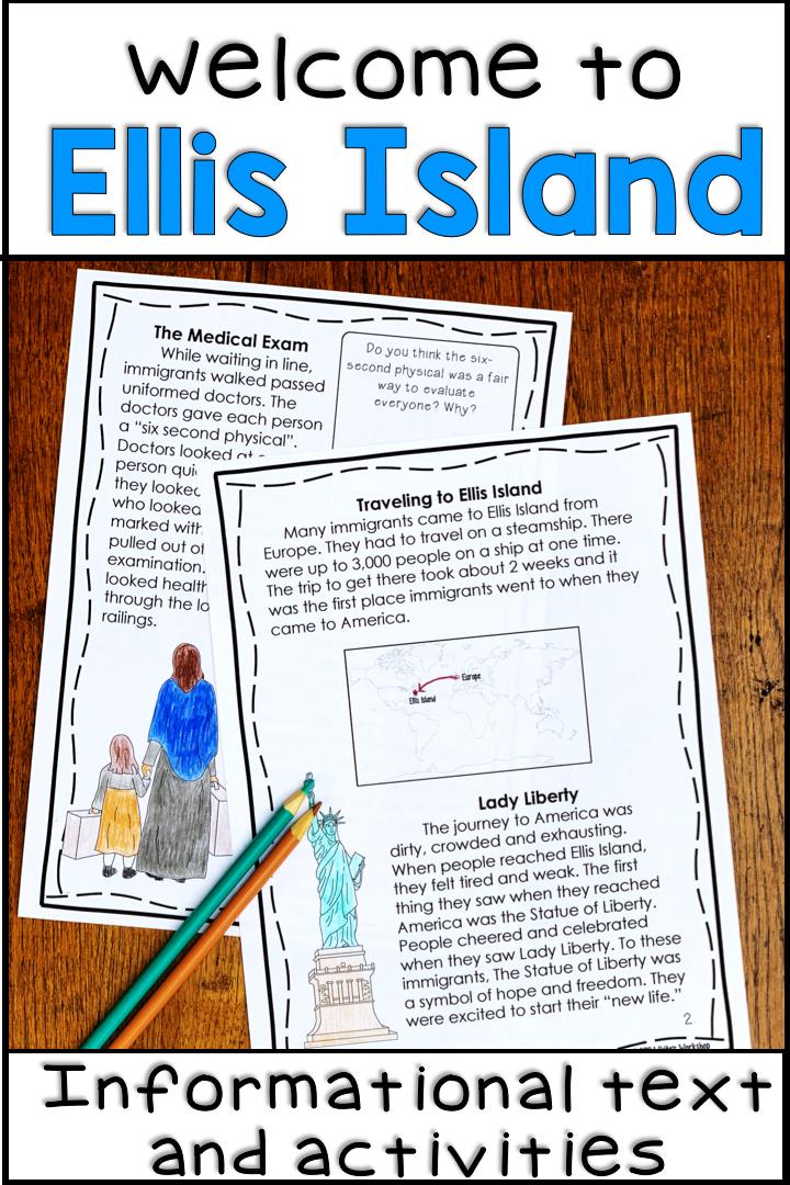 Ellis Island Reading Comprehension Passages 4th Grade Activities 5th Grade Activities