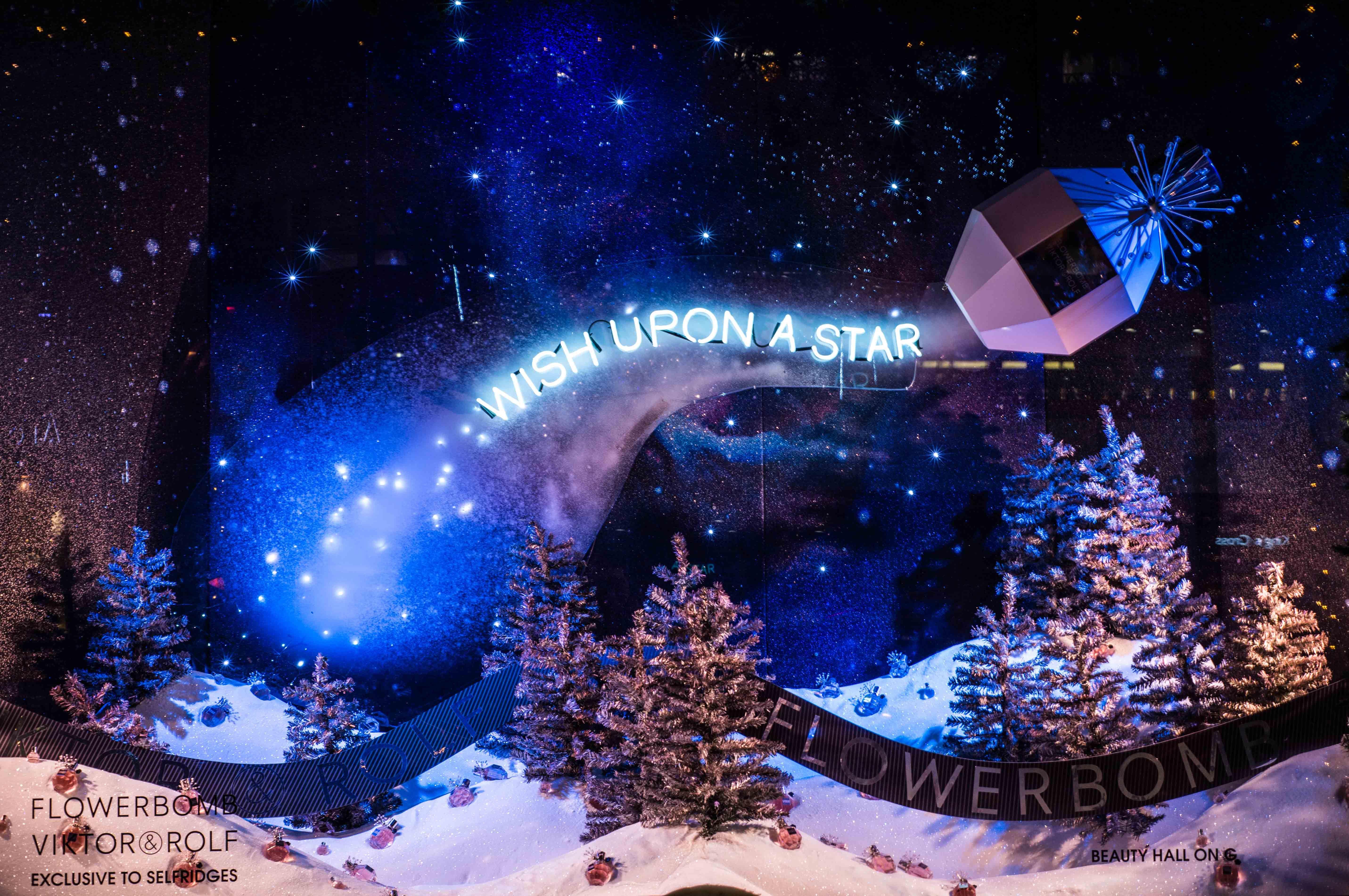 Wish Upon A Star Christmas Window Display For Flowerbomb By Viktor And Rolf Selfridges Desi Christmas Window Display Store Window Displays Christmas Window