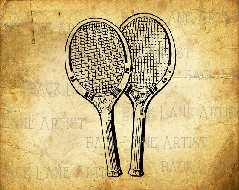 Vintage Tennis Racket Ball Clipart Lineart Illustration Instant Download Png Jpg Digi Line Art Image Drawing La38 Line Art Images Vintage Tennis Tennis Racket