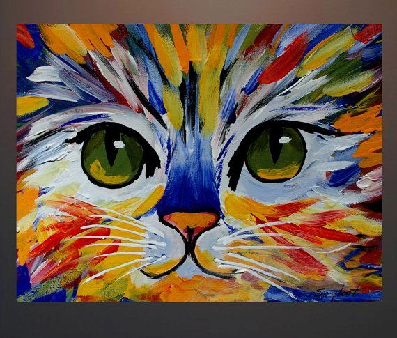 Original Abstract Cat Acrylic Painting On Canvas By AndyArtGallery