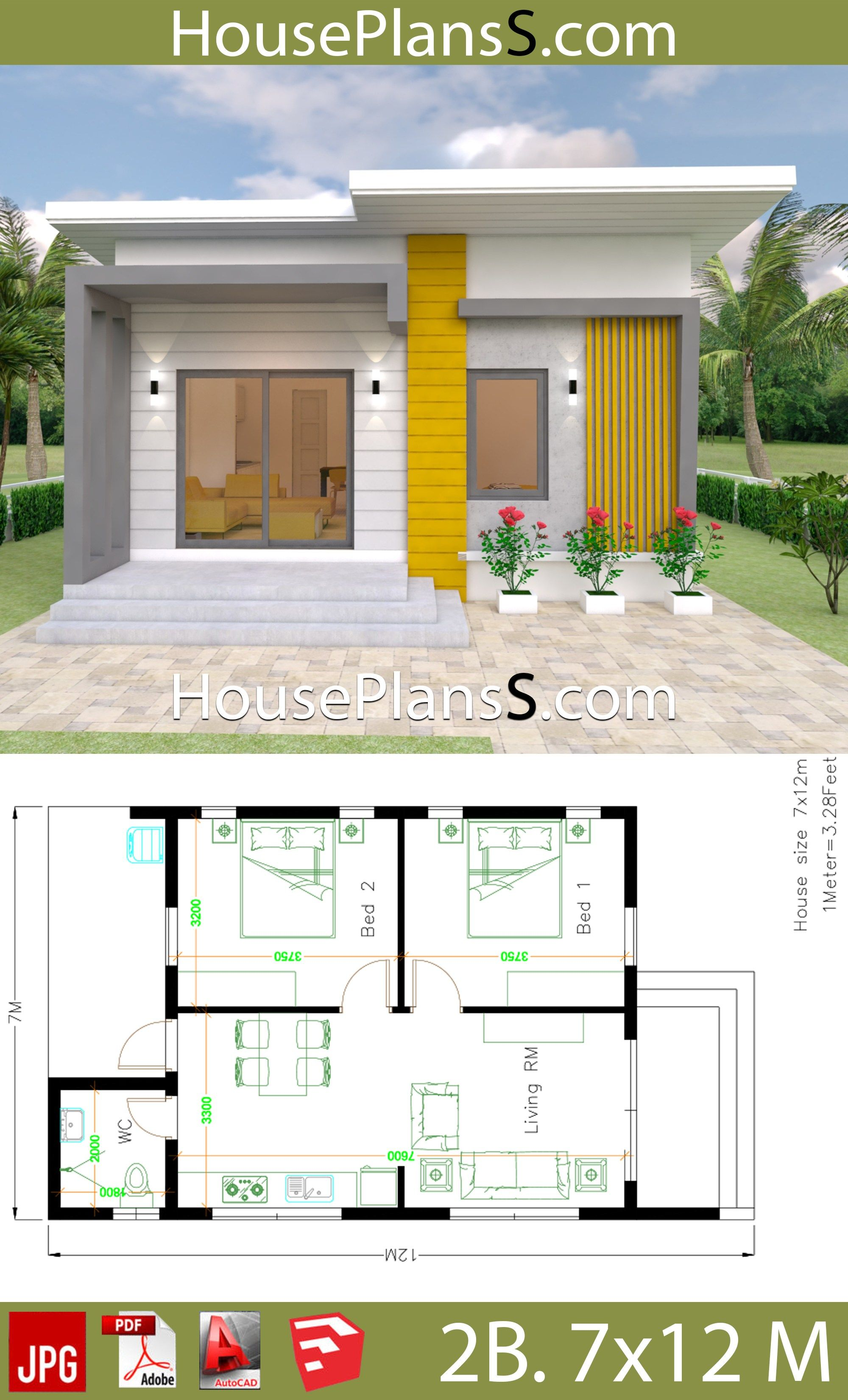 Small House Design Plans 7x12 With 2 Bedrooms Full Plansthe House Has One Story House 2 Small House Design Plans Modern Small House Design Small House Design