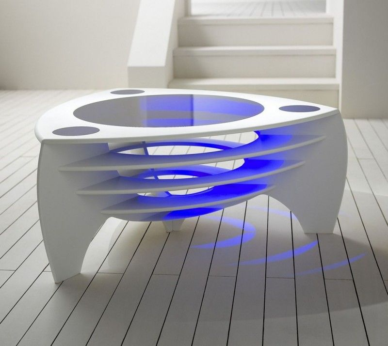 Modern Futuristic Furniture | Furniture, Futuristic Modern White Table  Design With Purple Lighting .