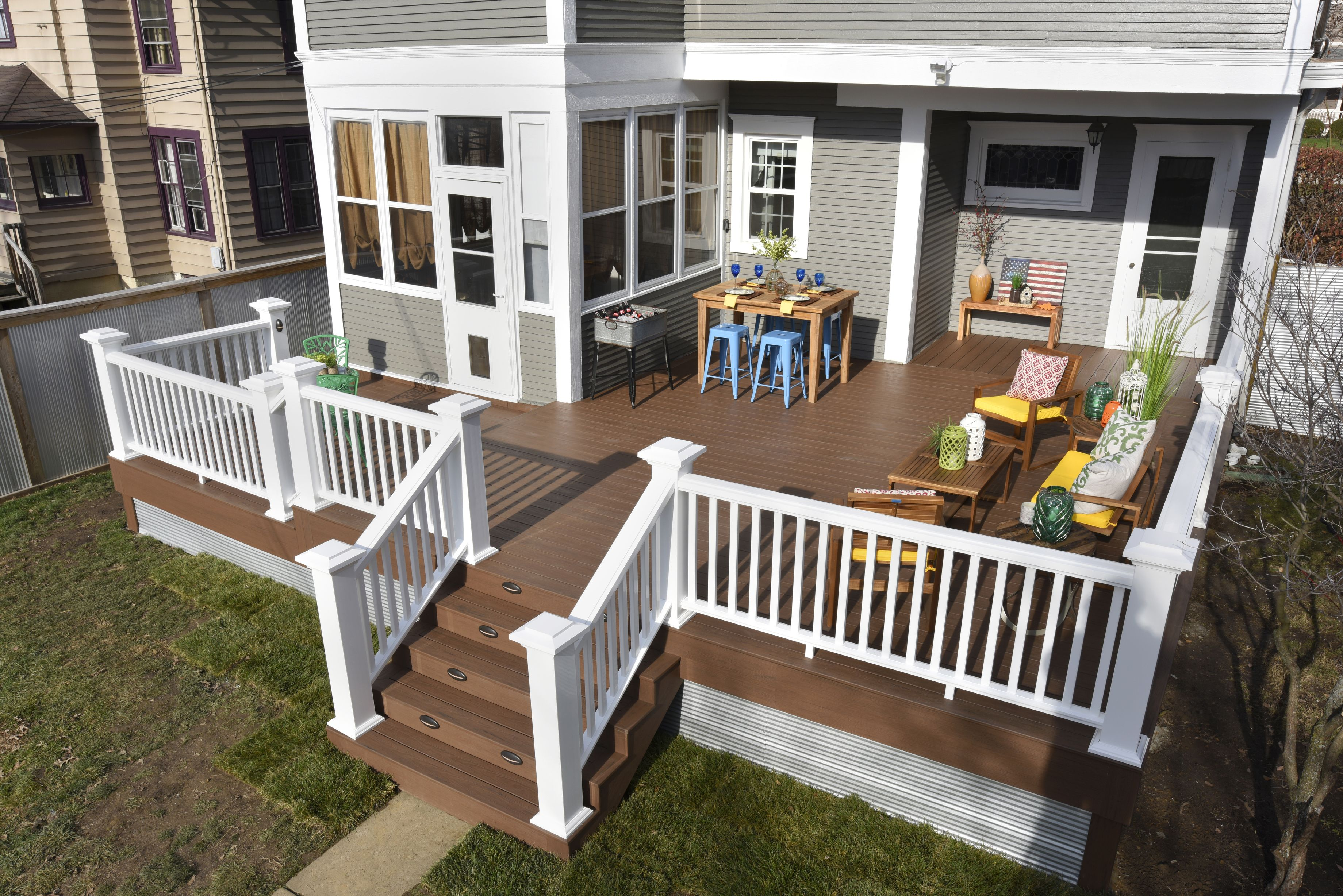 Deck Makeover After Shot: TimberTech Tropical Collection deck in