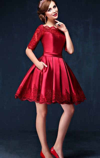 $159.99 Cute Red A-line Half Sleeves Corset Prom Dresses 2018 Lace
