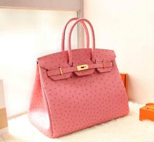 ca244d1fce Replica perfetta borsa Hermes Birkin rosa vera pelle di struzzo. Borse  Hermes Birkin e Kelly
