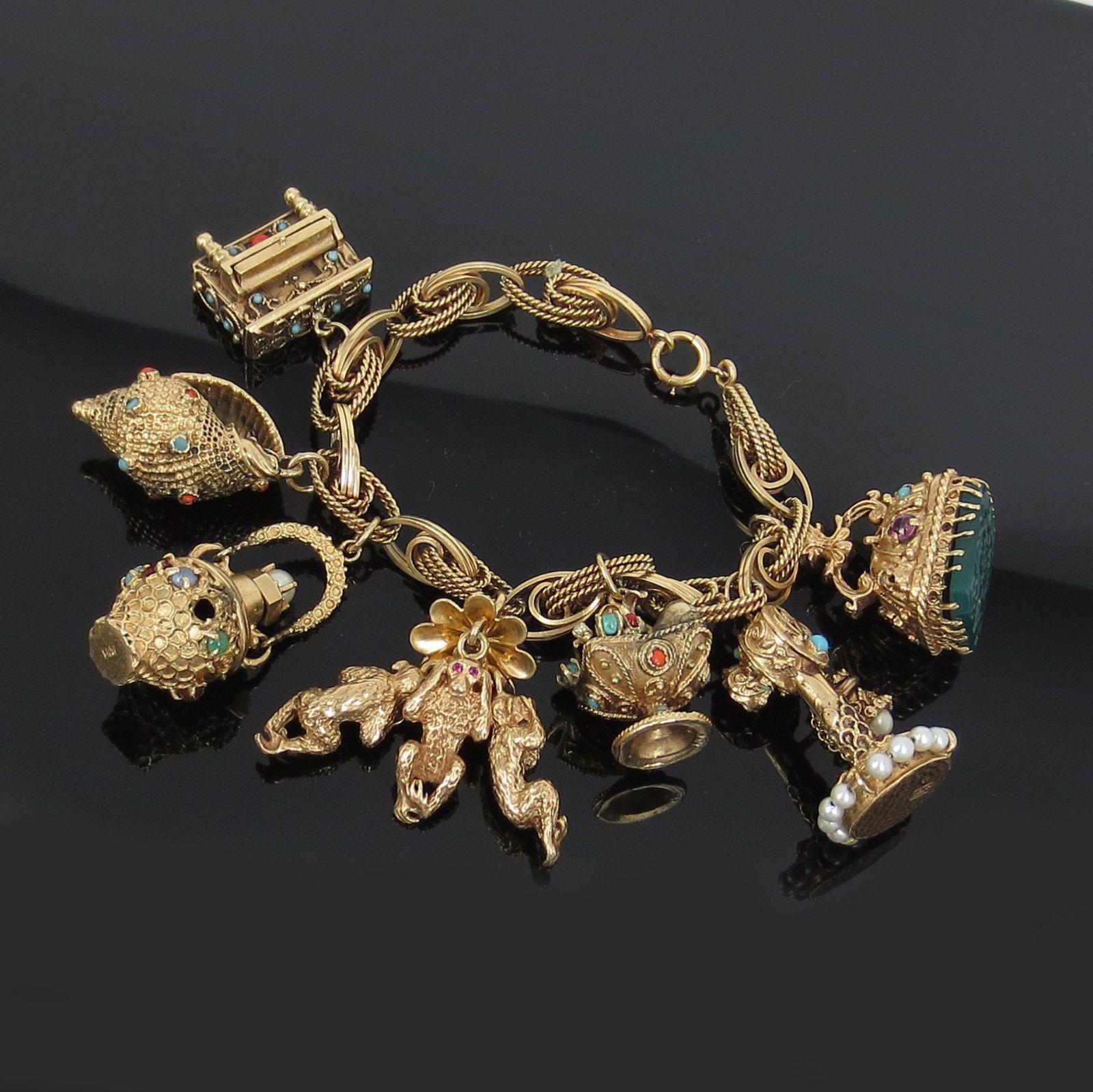 Vintage 14k Gold Charm Bracelet: Details About VINTAGE 14K YELLOW GOLD MULTI-GEMSTONE